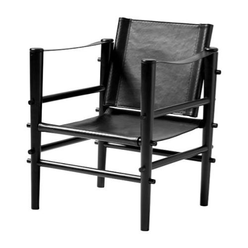Cinas Noble Safari stol i sort læder med sort bambusstel