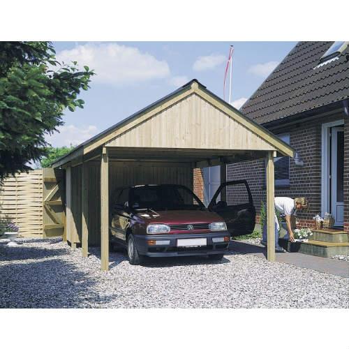 Fremragende Lav pris på enkelt Haderup carport med redskabsrum KM97