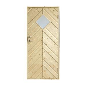 Plus udhusdør i træ, sildebenspanel med vindue 786 x 1878 mm, højre (8 x 19)