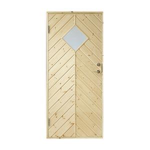 Plus udhusdør i træ, sildebenspanel med vindue 786 x 1878 mm, venstre (8 x 19)