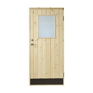 Plus udhusdør i træ, lodret panel med vindue 886 x 1978 mm, højre (9 x 20)