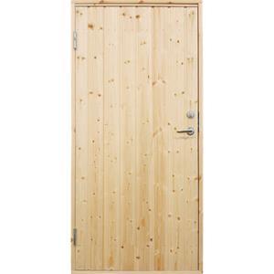 Plus udhusdør standard i træ, lodret panel 886 x 1978 mm, venstre (9 x 20)