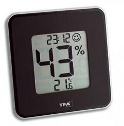 TFA Style. Digital termometer & hygrometer med ur. Sort.