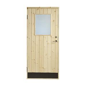Plus udhusdør i træ, lodret panel med vindue 886 x 1978 mm, venstre (9 x 20)