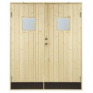 Plus dobbelt udhusdør i ubehandlet, lodret panel med vindue 1512 x 1978 mm