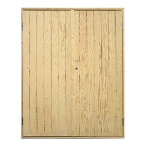 Plus dobbelt udhusdør i ubehandlet, lodret panel 1512 x 1978 mm