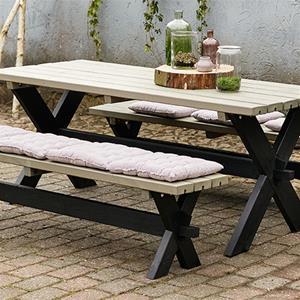 Plus Nostalgi plankesæt bord og 2 bænke sort/gråbrun