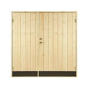 Plus dobbelt udhusdør i træ, lodret panel 1512 x 1876 mm (15 x 19)