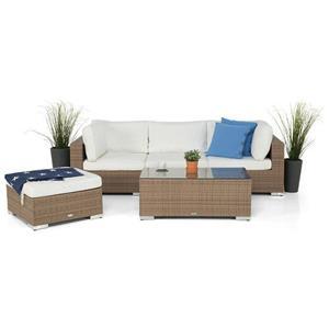Como loungesæt i brun poly m. bord, sofa, puf m. hynder
