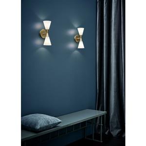 Lige ud Herstal væglampe i messing og hvid, køb nemt Harlekin Duo FT57