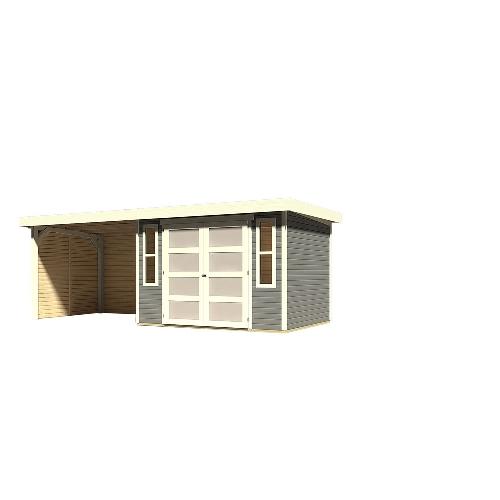 14fdabcbc66 Karibu Mühlendorf 4 hytte i terragrå 6,55 m2 med 2,60 meter overdækning