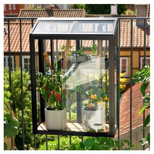 Juliana Urban Balcony mini drivhus sort med 4 mm hærdet glas