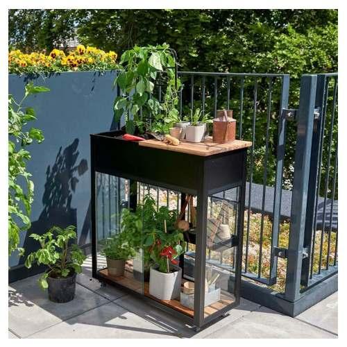 Juliana Urban Vertical mini drivhus sort med 4 mm hærdet glas