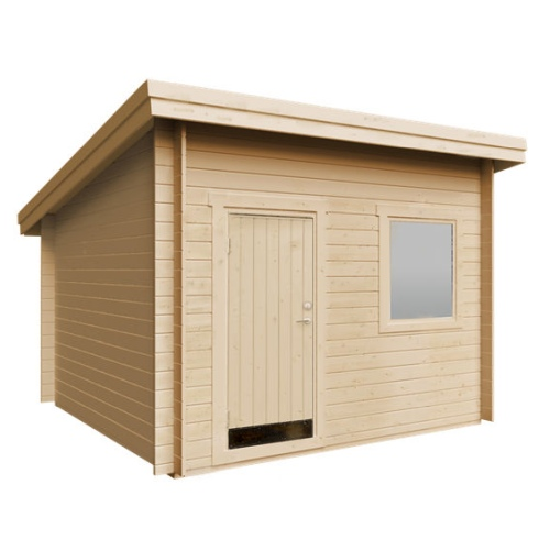 Plus Lux redskabsrum med skråt tag i ubehandlet 10 m2
