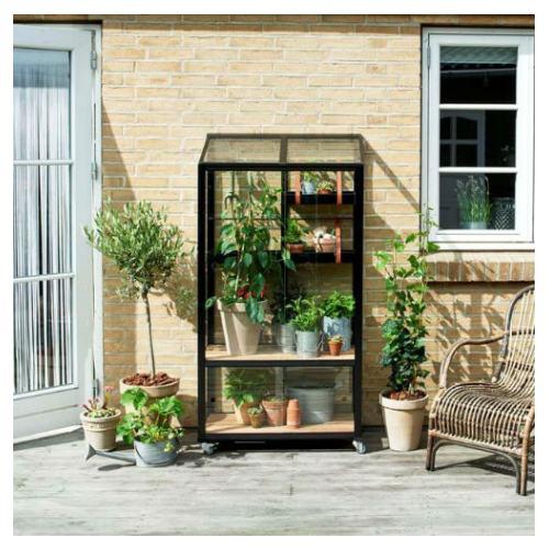 Juliana Urban City Greenhouse vægdrivhus i sort med 4 mm hærdet glas