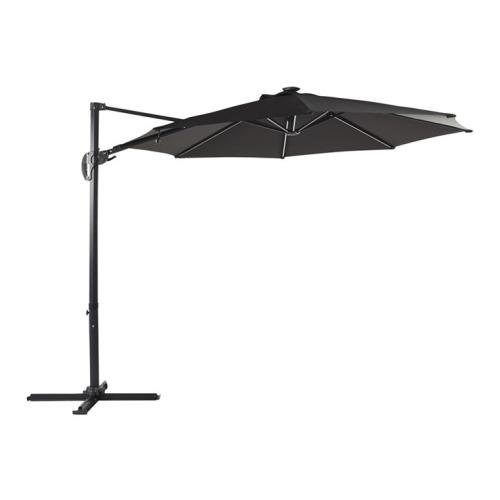 Outfit Tage hængeparasol i sort med led Ø3 meter
