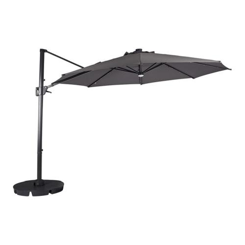 Outfit Torben hængeparasol i grå med fod og solar Ø3,5 meter