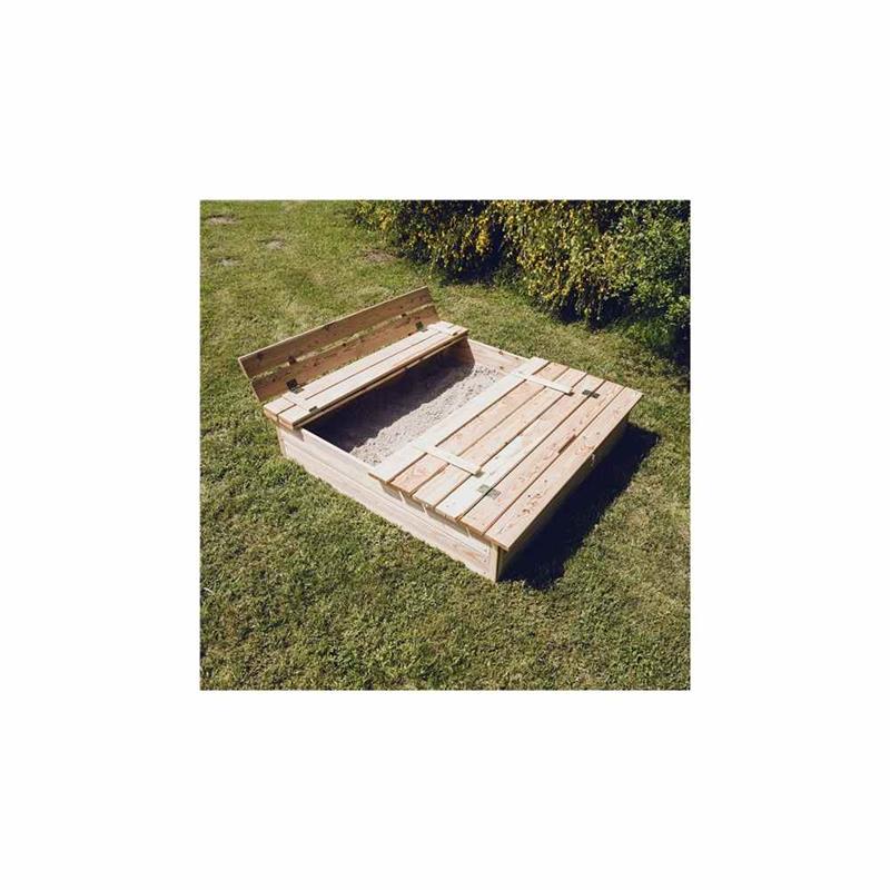 Nordic Play sandkasse i lærketræ med bænk og låg 120 x 120 cm