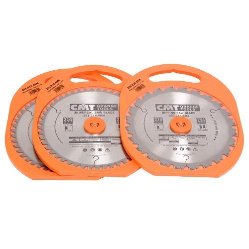 CMT rundsavsklingesæt 216 x 30 mm. m/24/48/64 W tænder. Sæt med 3 stk. klinger