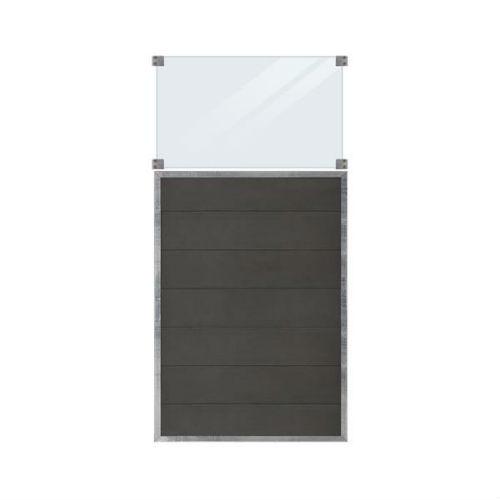 Plus Futura hegn i vedligeholdelsesfri composit med glas 90 x 180 cm
